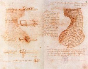 Doble página del manuscrito sobre el monumento Sforza.
